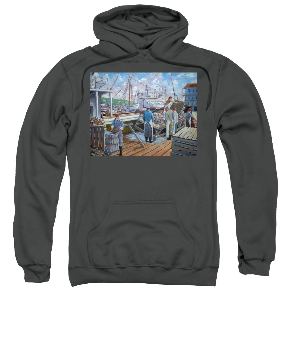 Cod Sweatshirt featuring the painting Cod Memories by Richard T Pranke