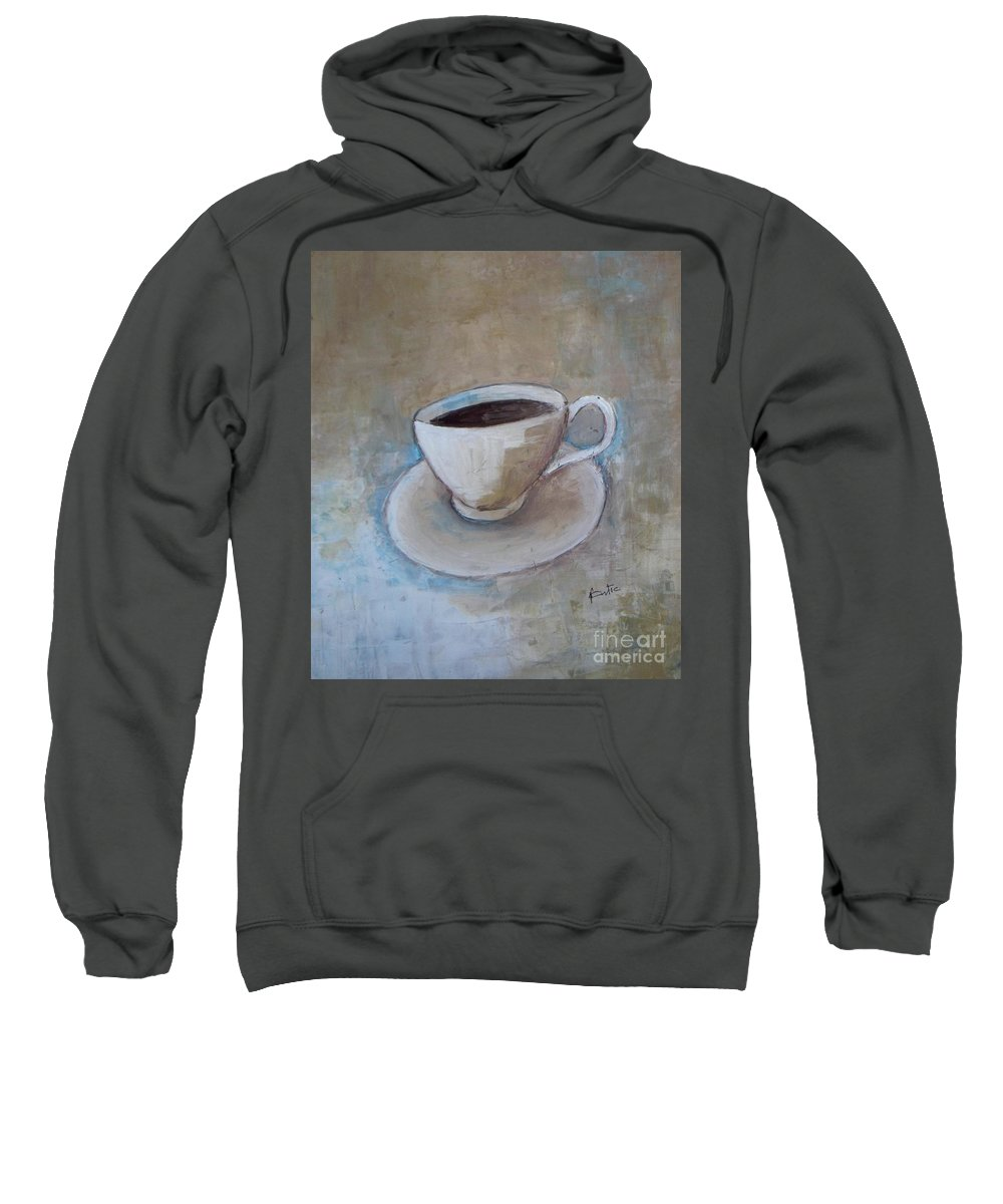 Restaurant Sweatshirt featuring the painting Coffee by Vesna Antic