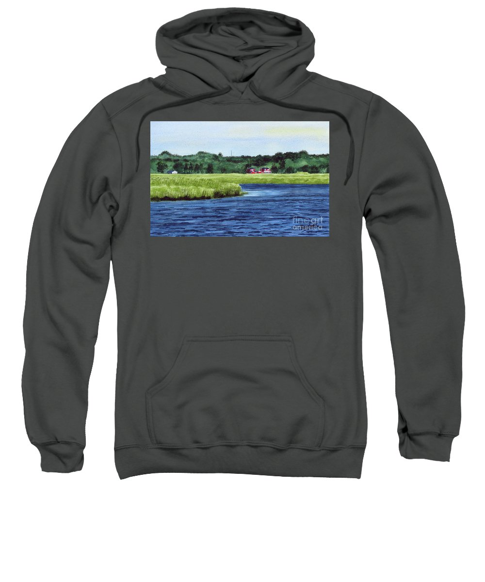 Seascape Sweatshirt featuring the painting Cohansey River by Barry Levy