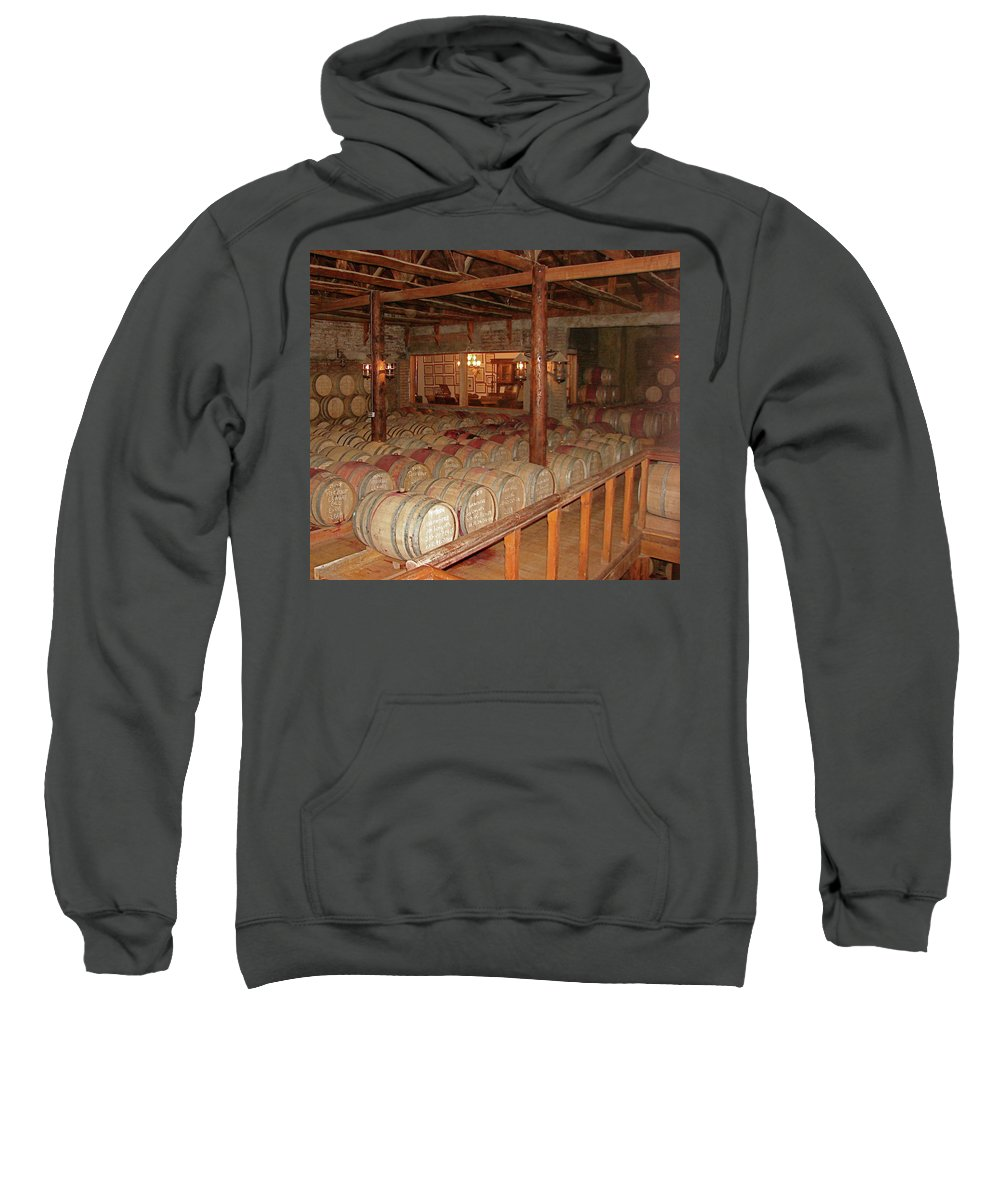 Colchagua Sweatshirt featuring the photograph Colchagua Valley Wine Barrels by Brett Winn