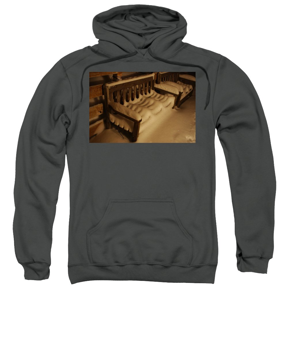 Bench Sweatshirt featuring the photograph Cold Bench In The Snow by Alice Markham