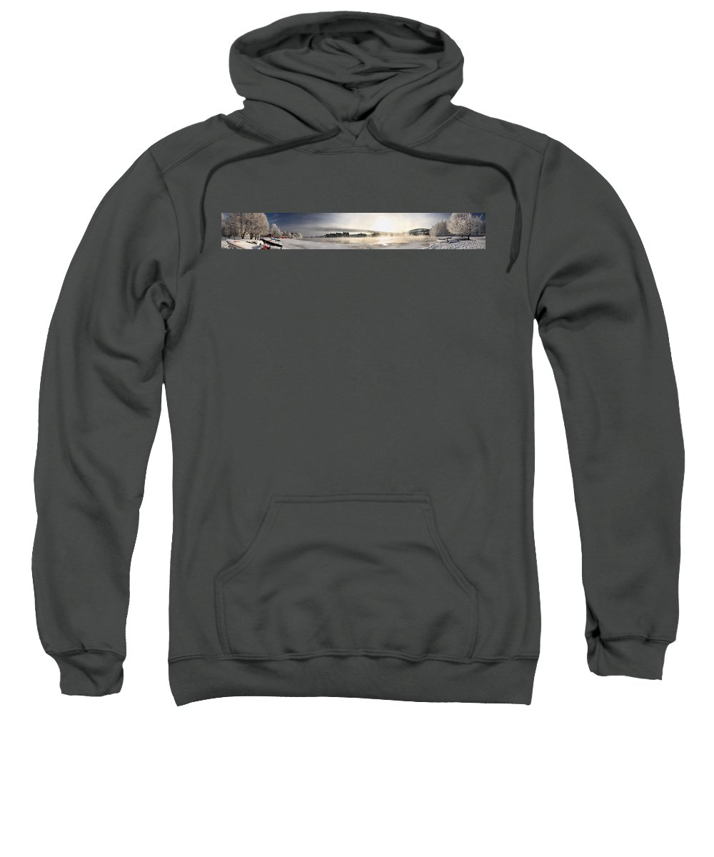 Panorama Sweatshirt featuring the photograph Cold Day Foggy River Panorama Oulu by Sandra Rugina