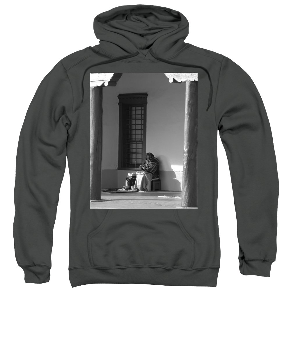 Southwestern Sweatshirt featuring the photograph Cold Native American Woman by Rob Hans
