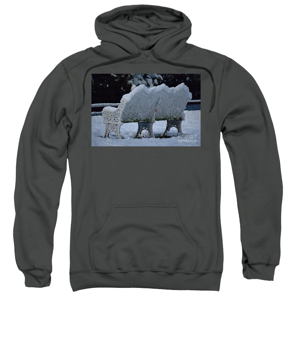 Bench Sweatshirt featuring the photograph Cold Seat by Donna Bentley