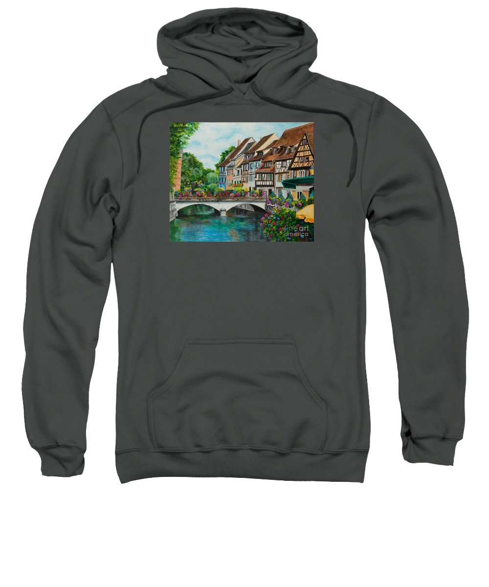 Colmar Sweatshirt featuring the painting Colmar In Full Bloom by Charlotte Blanchard