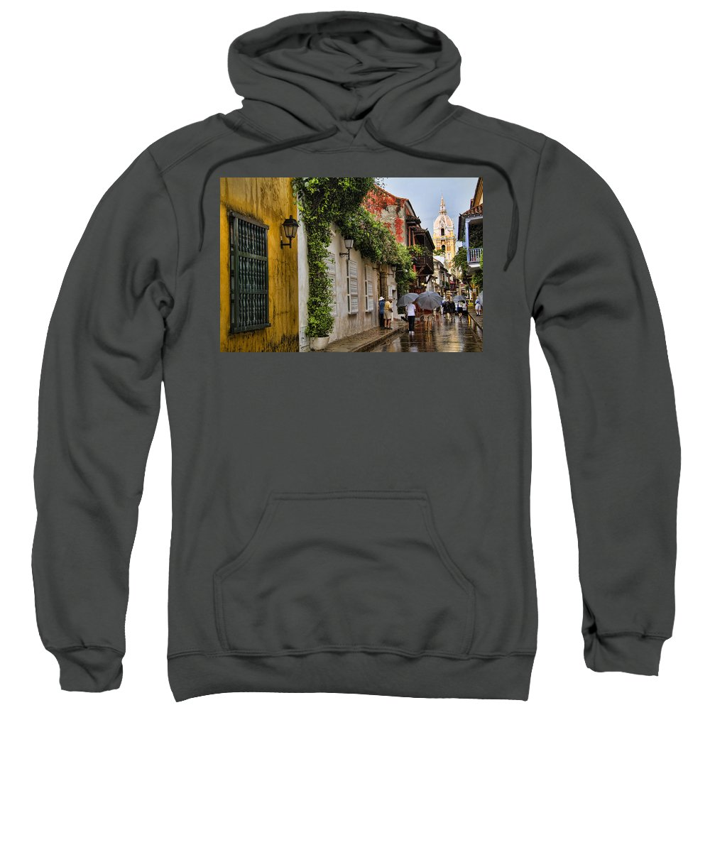 Cartagena Sweatshirt featuring the photograph Colonial Buildings In Old Cartagena Colombia by David Smith