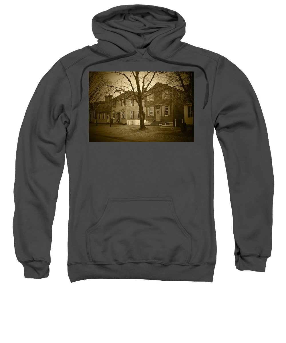 American Sweatshirt featuring the photograph Colonial Shops - Bw by Lou Ford