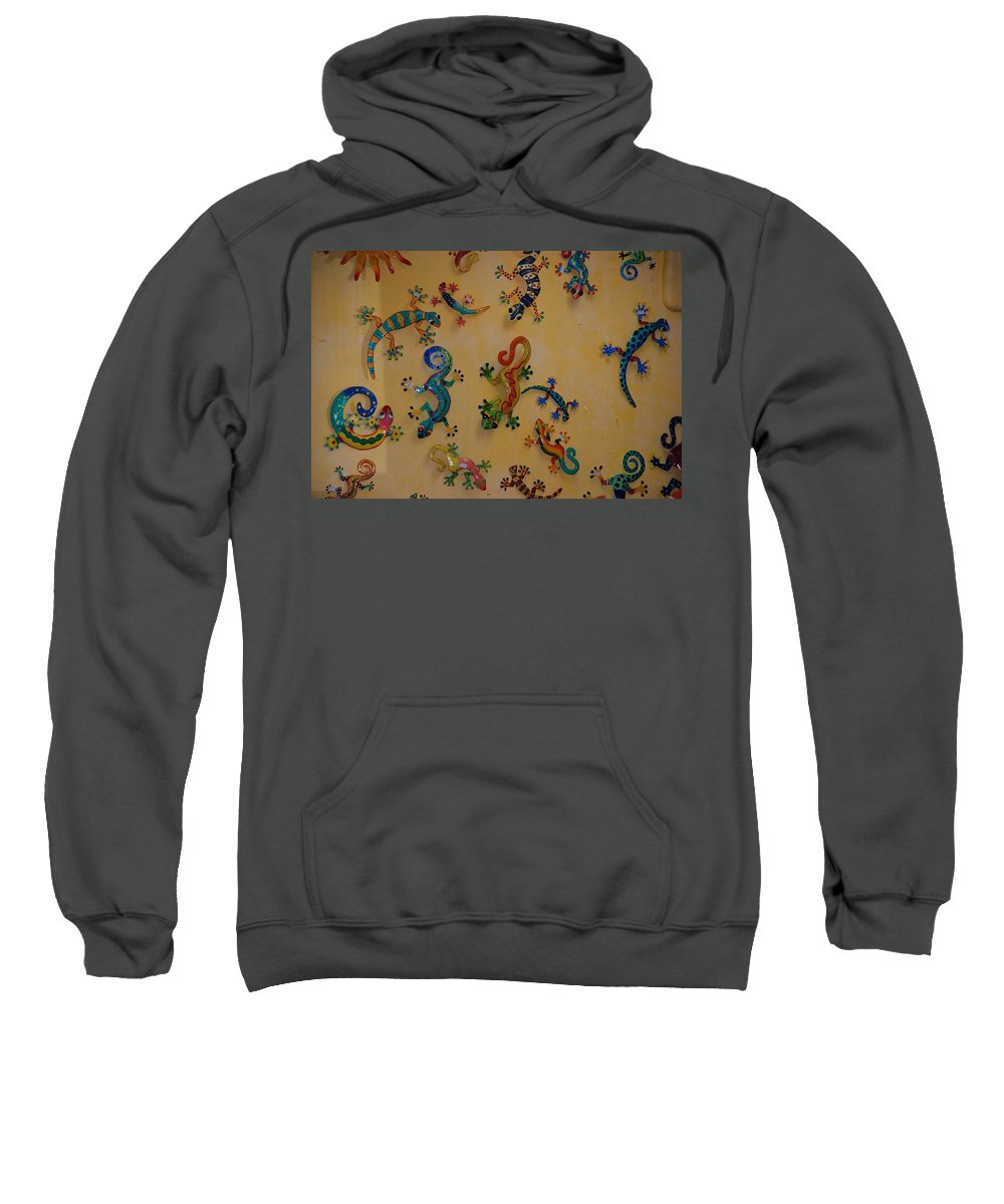 Pop Art Sweatshirt featuring the photograph Color Lizards On The Wall by Rob Hans