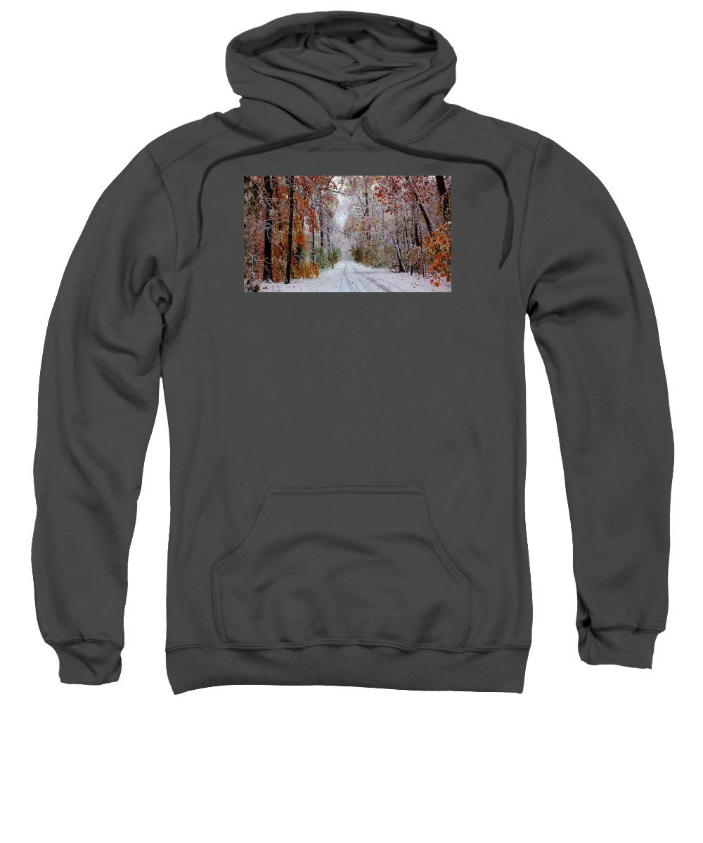 This Fall Snow Storm In The Sourlands Was Sure A Pretty One. Sweatshirt featuring the photograph Color Tunnel In The Sourlands by Matt Stover