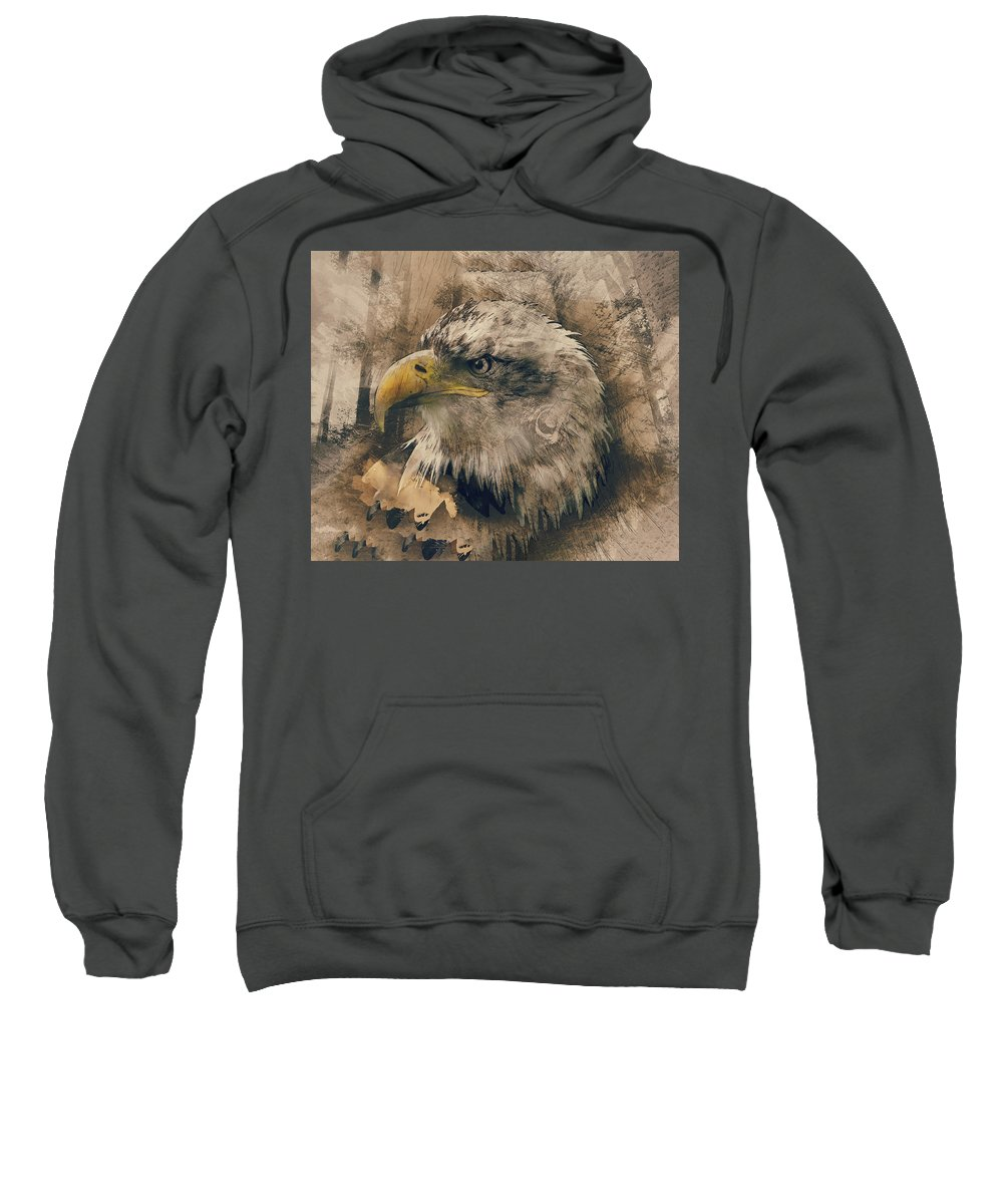 Animal Sweatshirt featuring the painting Colored Etching Of American Bald Eagle by Elaine Plesser
