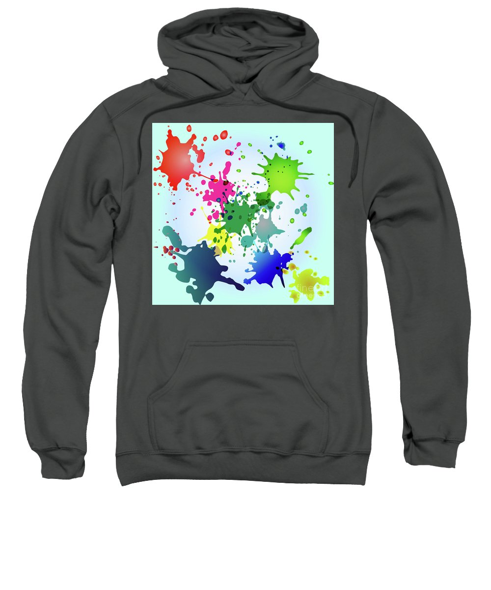 Colored Splashes On A Very Beautiful Blue Background Sweatshirt featuring the drawing Colored Splashes On A Very Beautiful Blue Background by Artur Sharakhimov