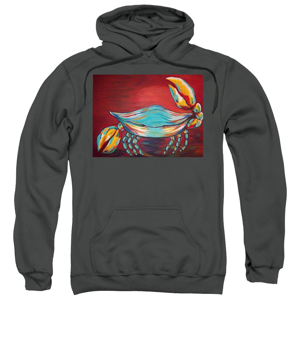 Sealife Sweatshirt featuring the painting Colorful Crab by Angela Miles Varnado