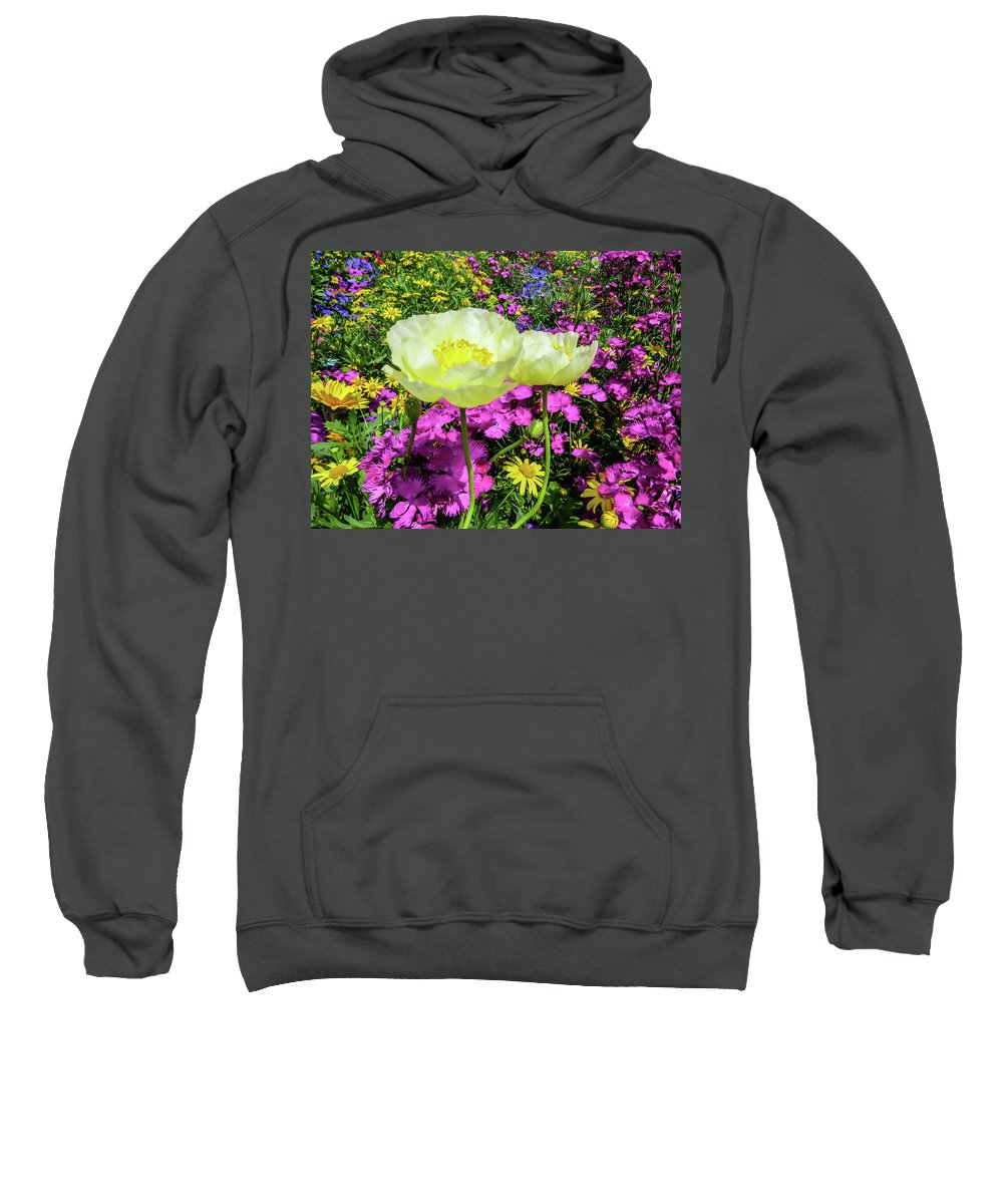 Poppy Sweatshirt featuring the photograph Colorful Garden II by Zina Stromberg