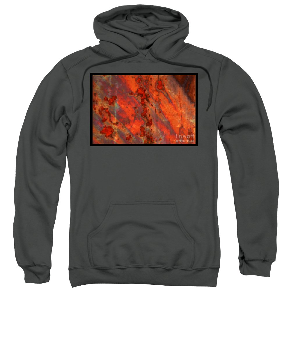 Colorful Abstract Sweatshirt featuring the photograph Colorful Metal Abstract With Border by Carol Groenen
