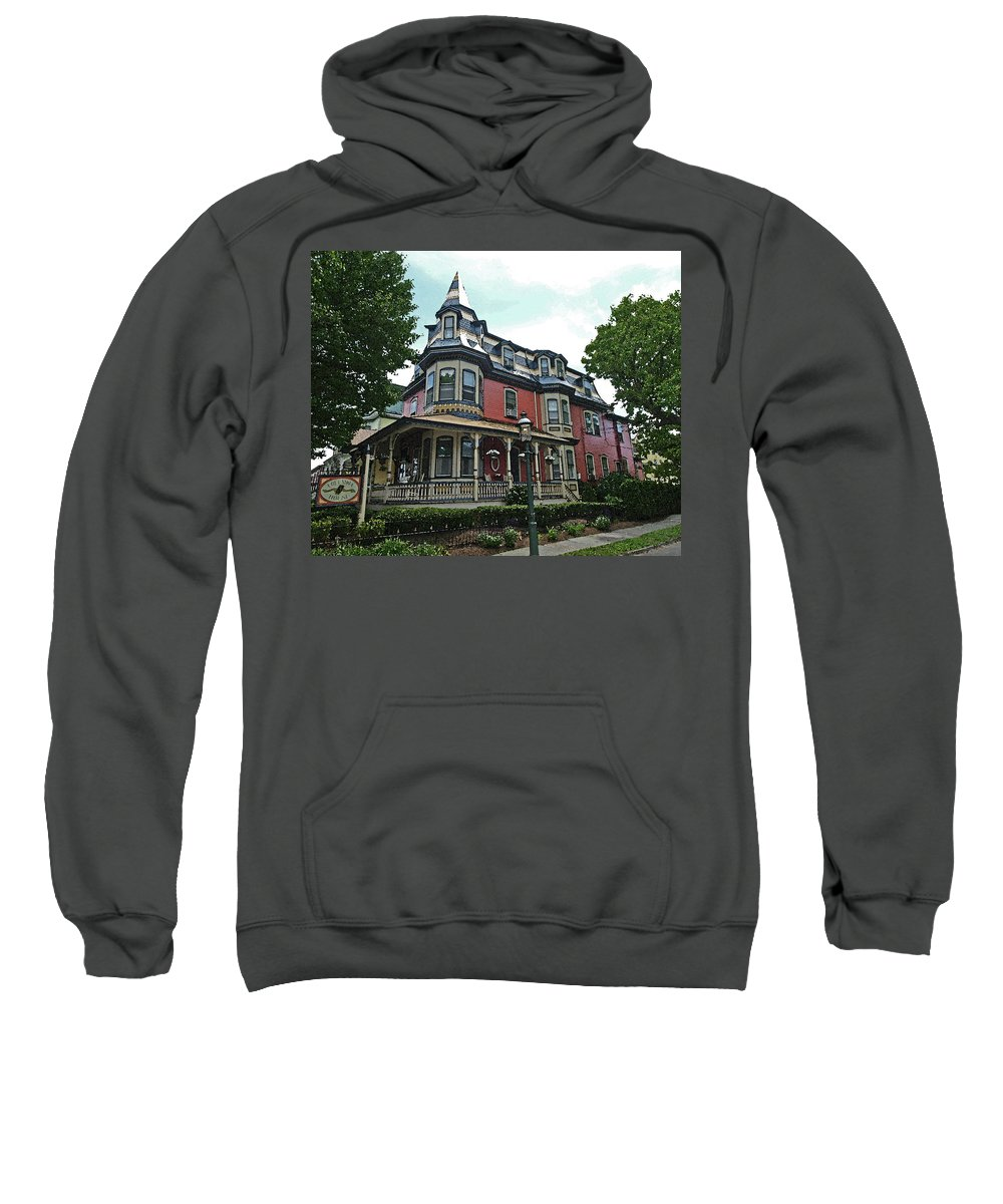Victorian Sweatshirt featuring the digital art Columbia House Watercolor by Terrie Stickle