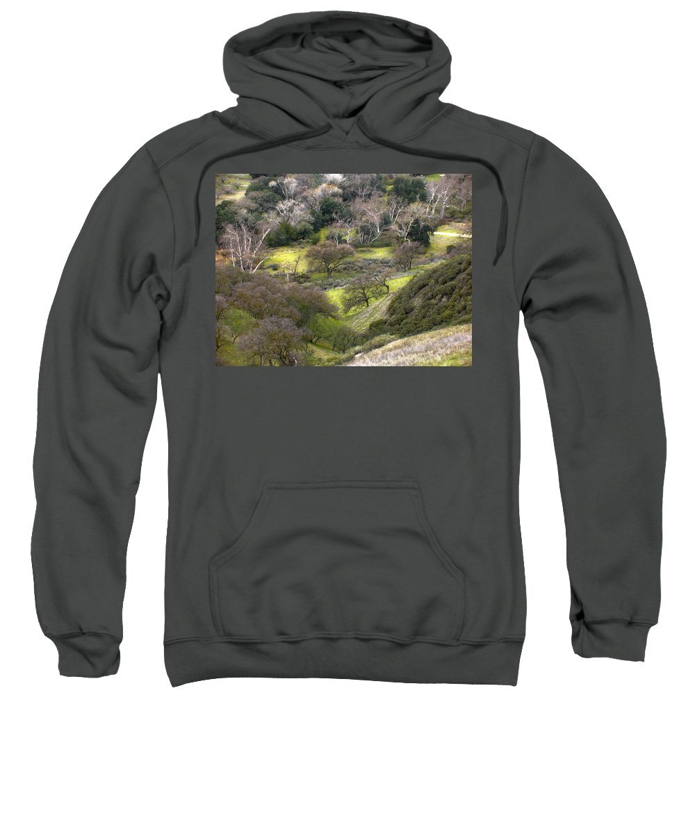 Landscapes Sweatshirt featuring the photograph Coming Down The Hill by Karen W Meyer