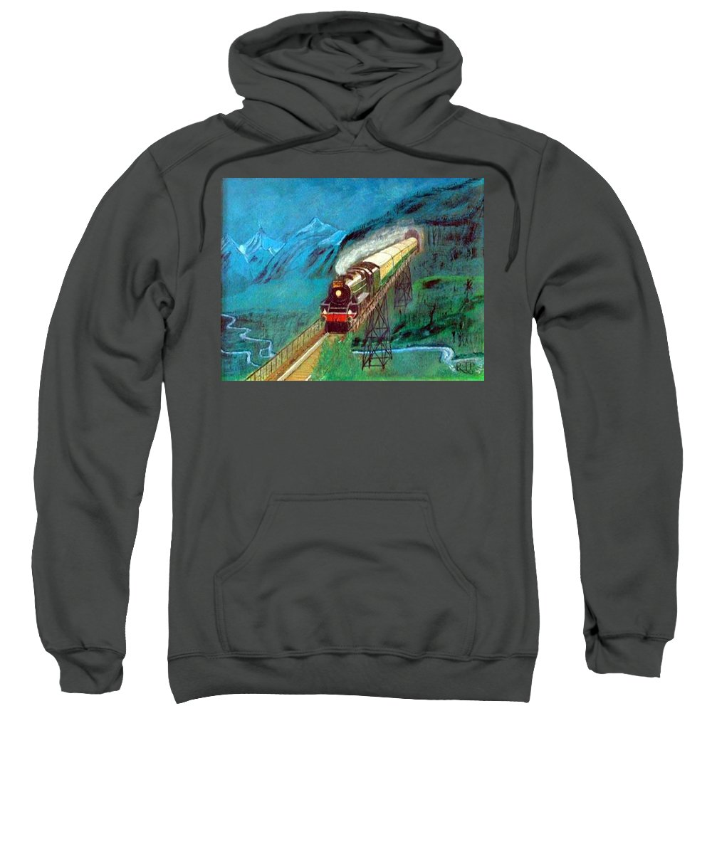 Trains Sweatshirt featuring the painting Coming Through The Tunnel by Richard Le Page