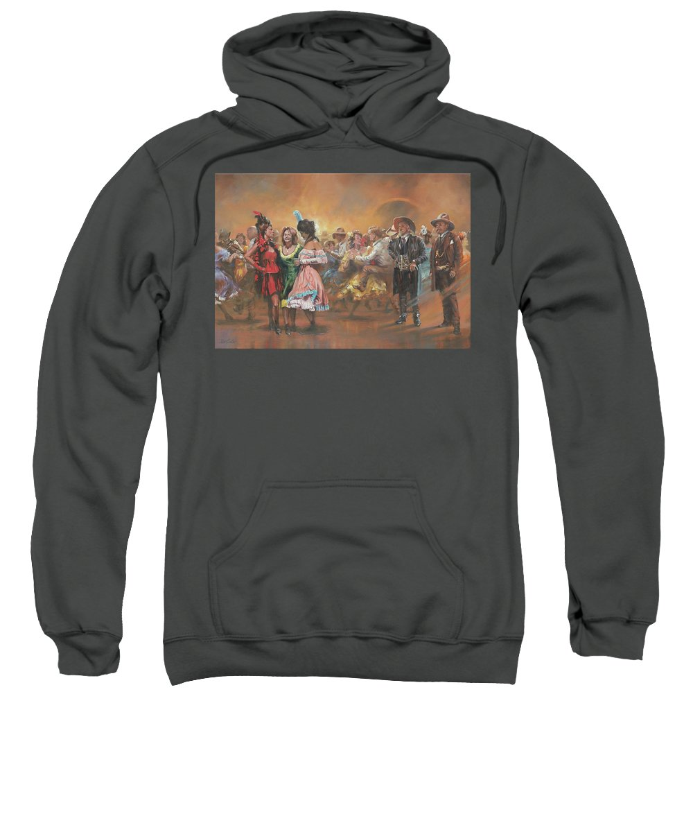 Dancing Sweatshirt featuring the painting Comparing Notes by Mia DeLode