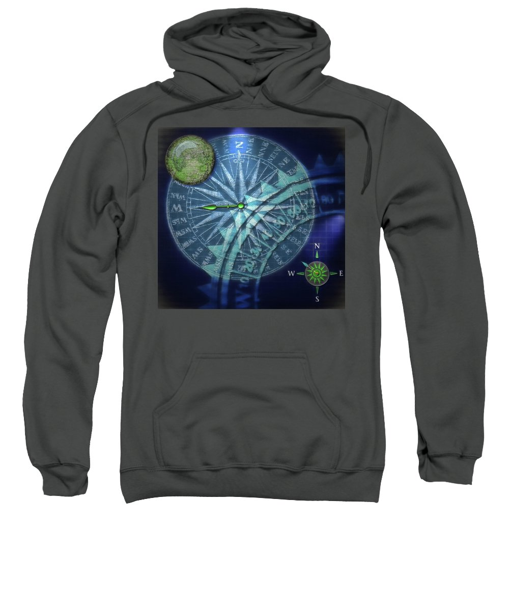 Compass Sweatshirt featuring the digital art Compass 2 by Steve Ohlsen