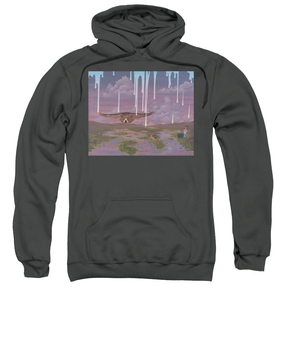 Surrealism Landscape Sweatshirt featuring the painting Complacency by Jon Carroll Otterson