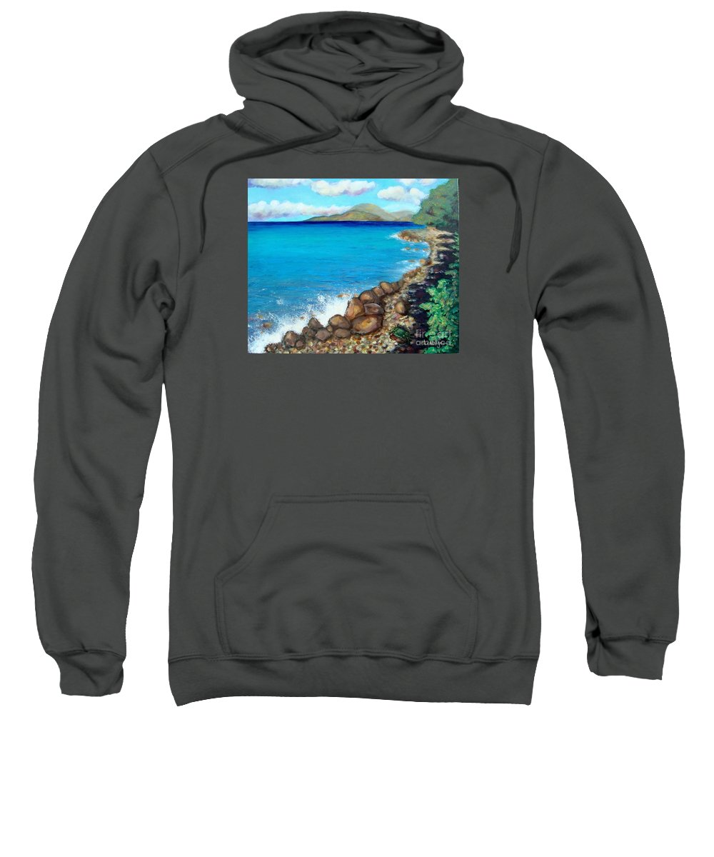 Water Sweatshirt featuring the painting Concealed Crustacean by Laurie Morgan