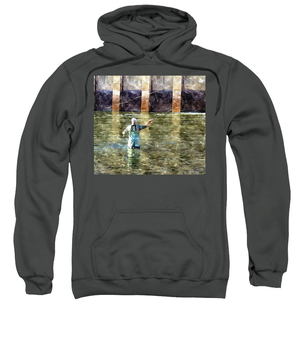 Fly Fishing Sweatshirt featuring the digital art Concentration by Harry Tart