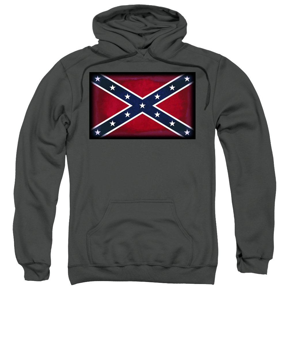 Confederate Flag Sweatshirt featuring the digital art Confederate Rebel Battle Flag by Daniel Hagerman