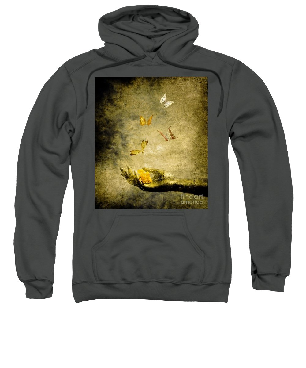 Inspirational Sweatshirt featuring the painting Connect by Jacky Gerritsen