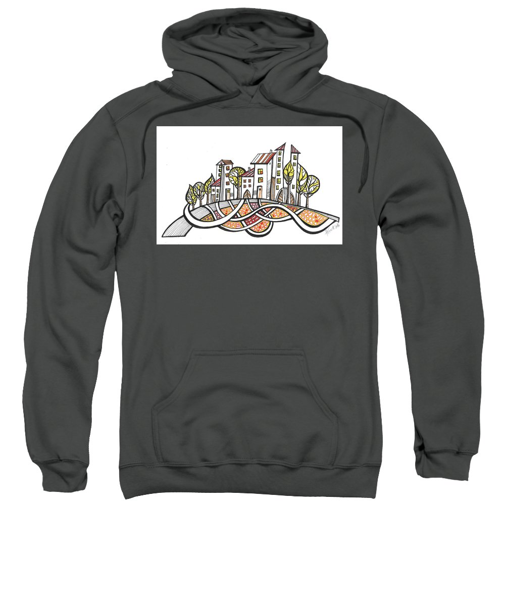 Houses Sweatshirt featuring the drawing Connections by Aniko Hencz