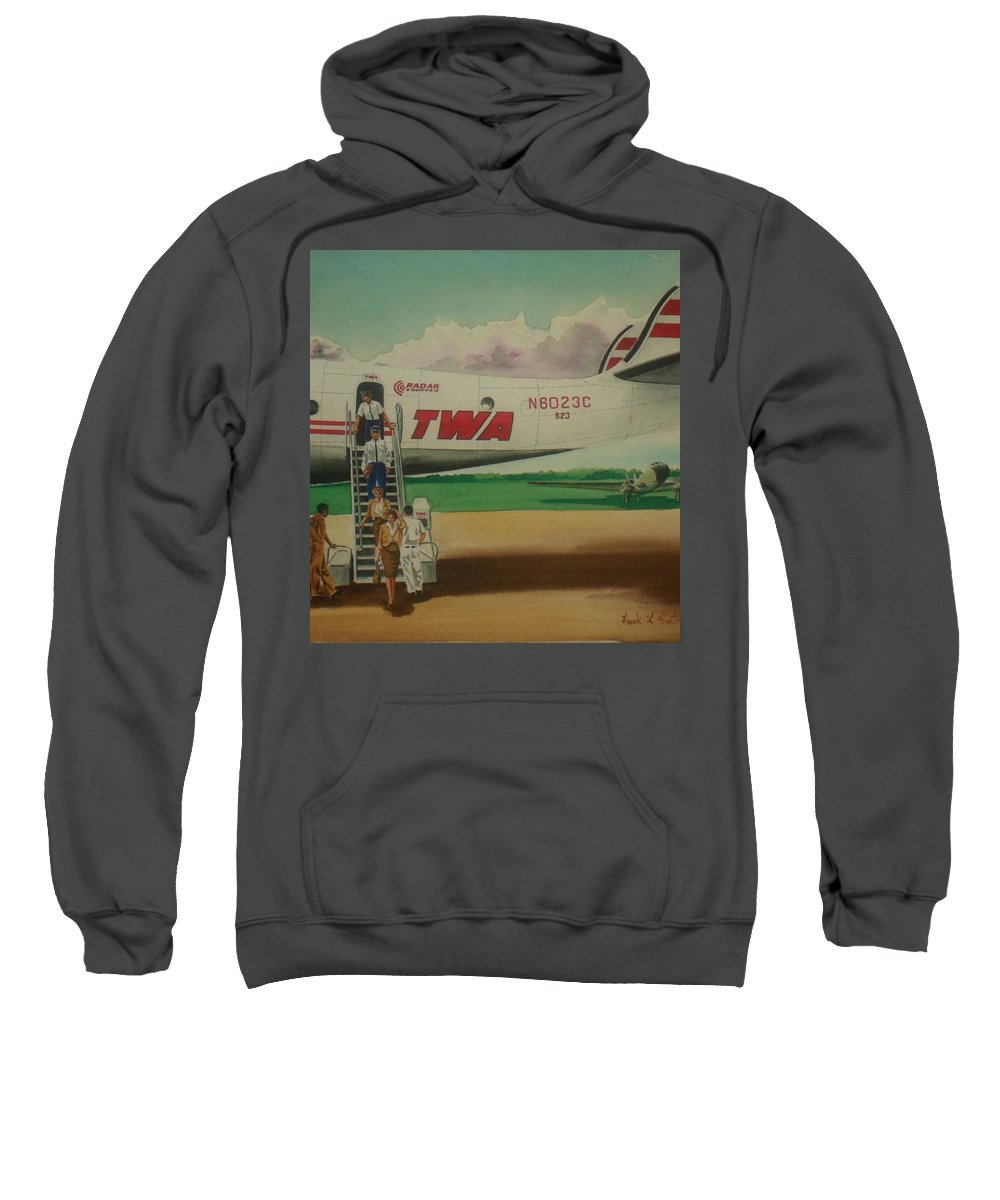 Twa Airplane Airlines Connie Constellation Three Tailed Crew Deplaning Dc-3 In Backgrund Sweatshirt featuring the painting Connie Crew Deplaning At Columbus by Frank Hunter