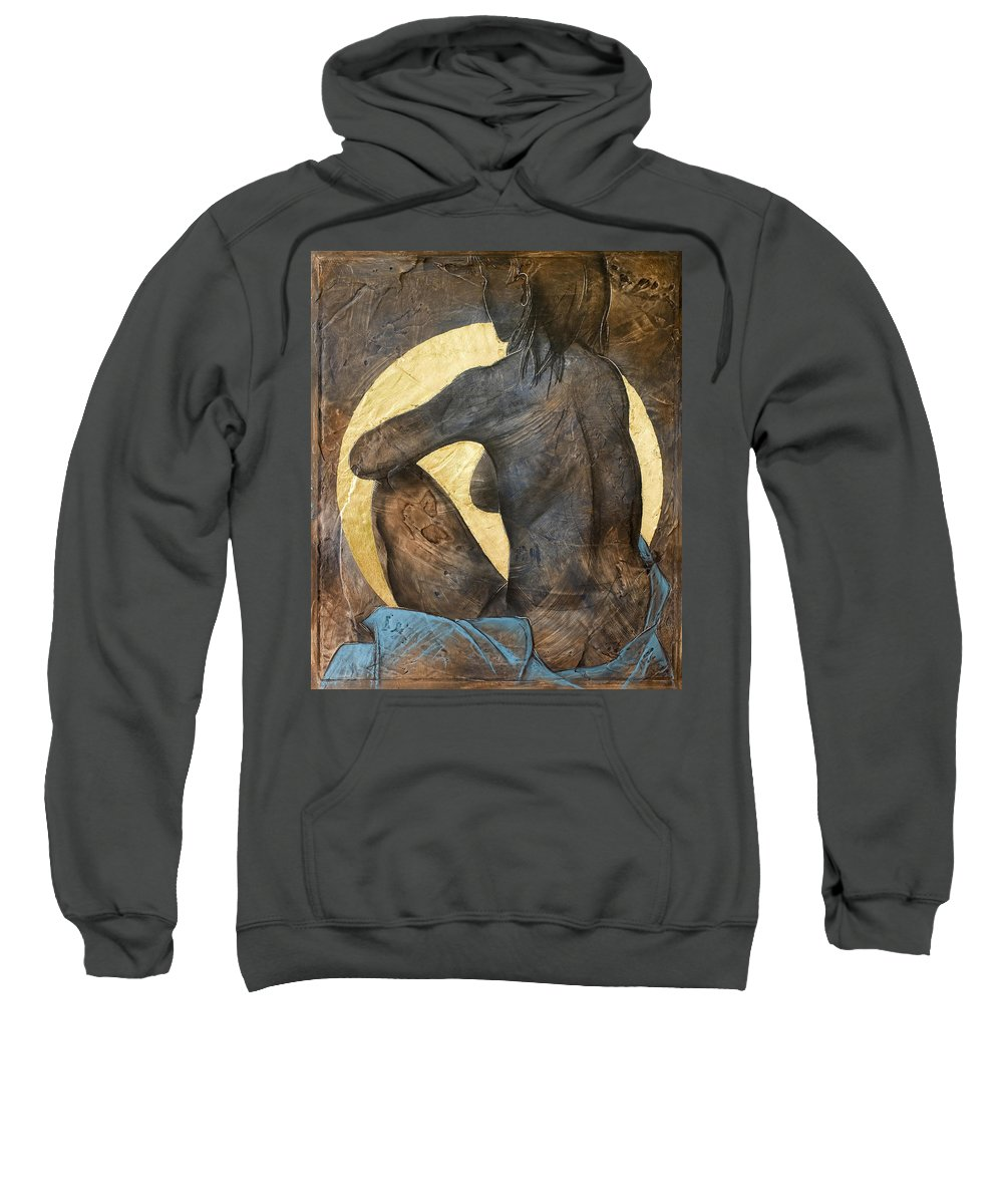 Nude Sweatshirt featuring the painting Contemplation by Richard Hoedl