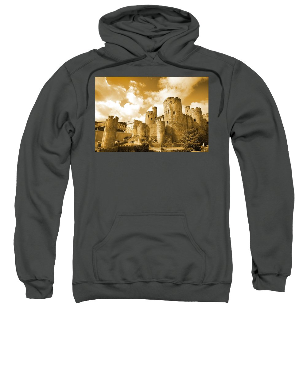 Castle Sweatshirt featuring the photograph Conwy Castle And The Telford Suspension Bridge North Wales by Mal Bray