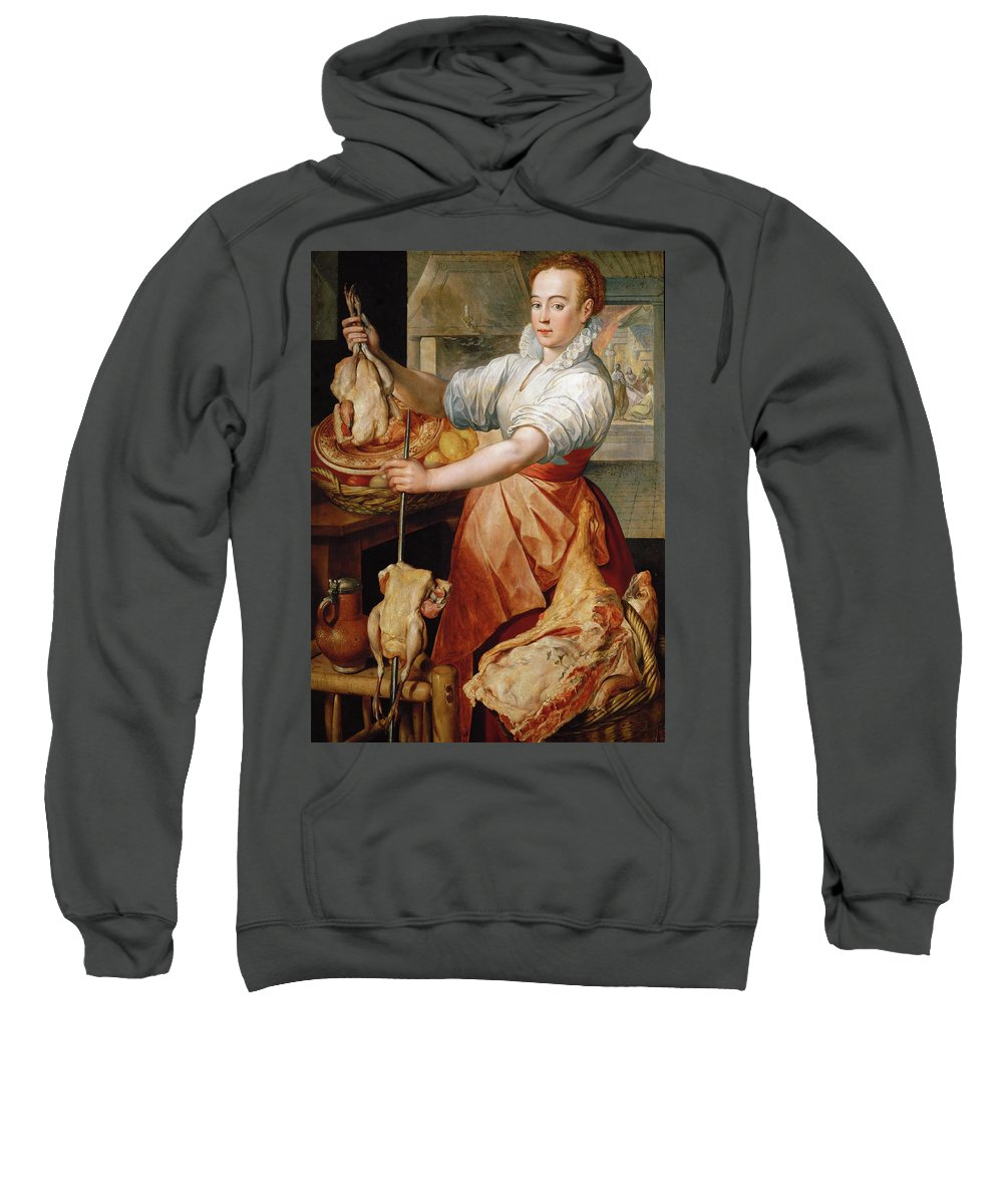 Joachim Beuckelaer Sweatshirt featuring the painting Cook With Chicken. In The Background Christ With Mary And Martha by Joachim Beuckelaer