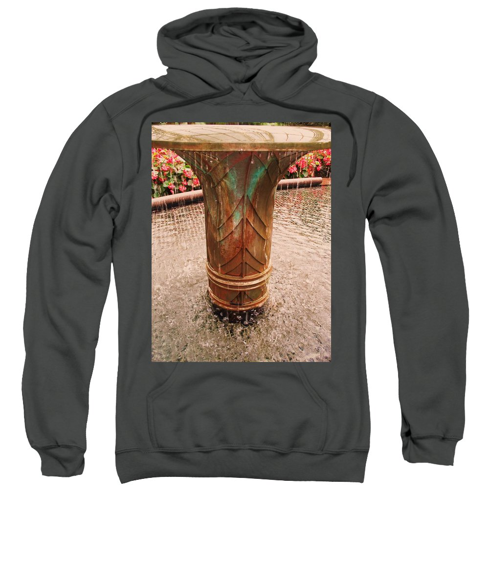 Copper Fountain Sweatshirt featuring the painting Copper Water Fountain by Eric Schiabor