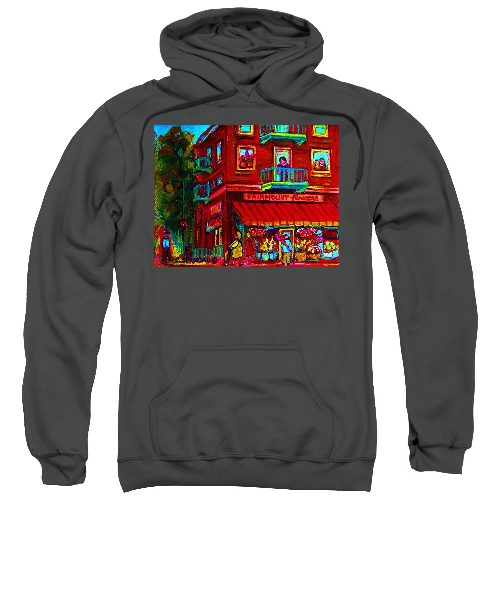 Flowershop Sweatshirt featuring the painting Corner Flowershop by Carole Spandau
