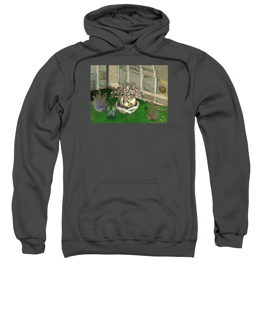 Futurist Sweatshirt featuring the digital art Corner Of The Garden by Bad Monkey