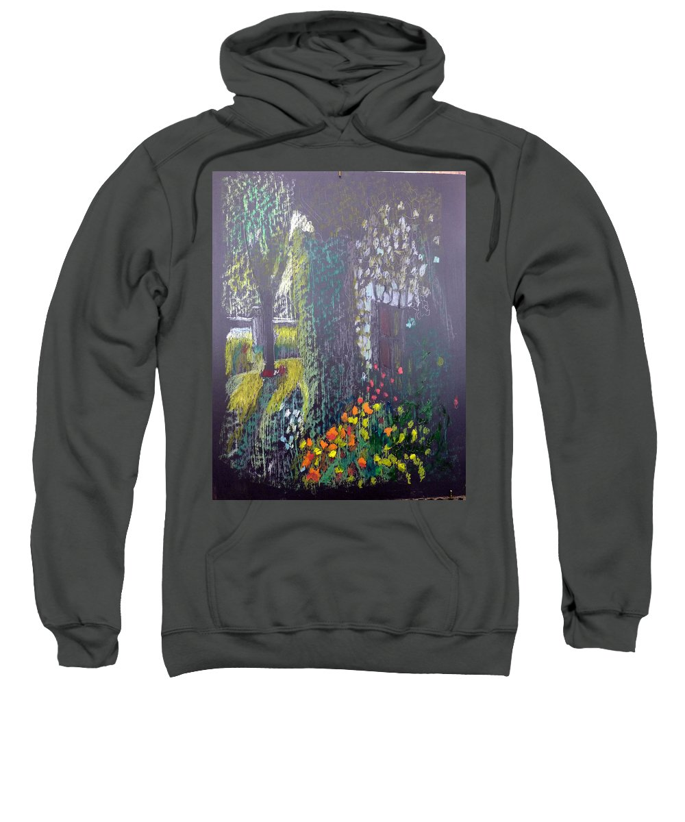 Cottage Sweatshirt featuring the painting Cottage Flowers by Richard Le Page