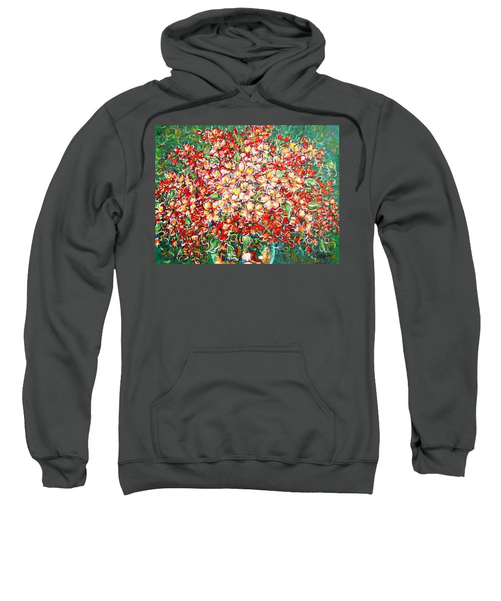Flowers Sweatshirt featuring the painting Cottage Garden Flowers by Natalie Holland