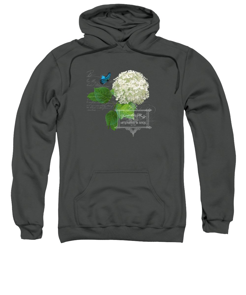 White Hydrangea Sweatshirt featuring the painting Cottage Garden White Hydrangea With Blue Butterfly by Audrey Jeanne Roberts