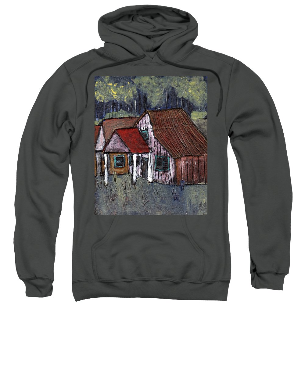 Cottage Sweatshirt featuring the painting Cottage In The Woods by Wayne Potrafka