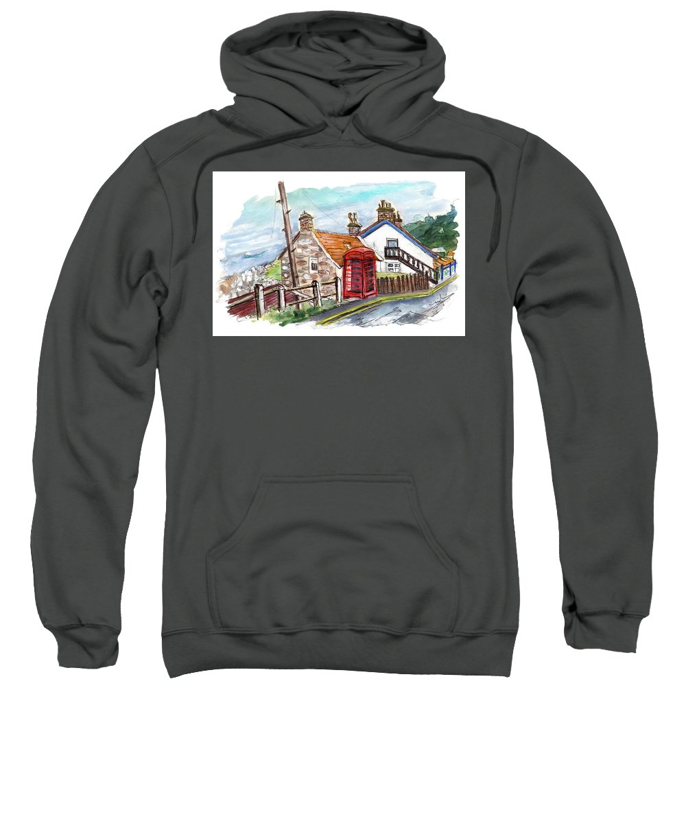 Travel Sweatshirt featuring the painting Cottages In Runswick Bay by Miki De Goodaboom
