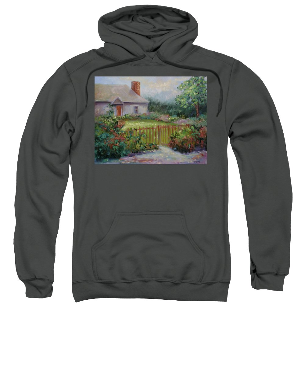 Cottswold Sweatshirt featuring the painting Cottswold Cottage by Ginger Concepcion