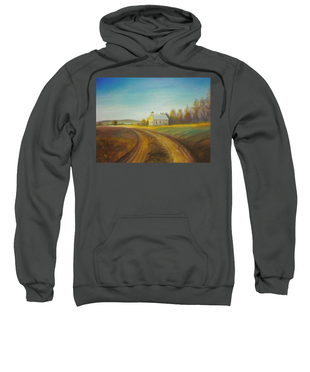 Landscape Sweatshirt featuring the painting Country Church by Scott Easom