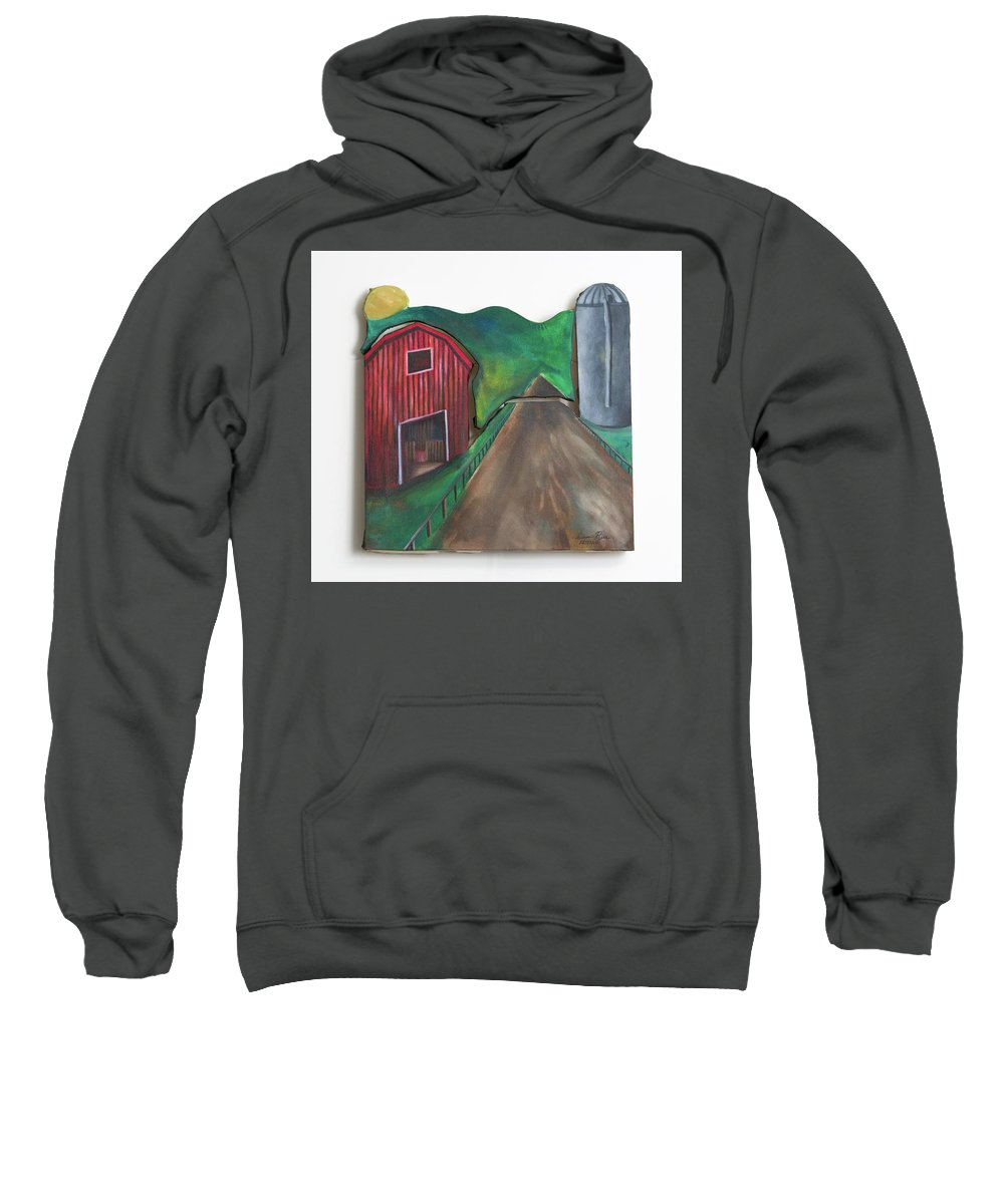 Canvas Sweatshirt featuring the mixed media Country Day by Sam Artman