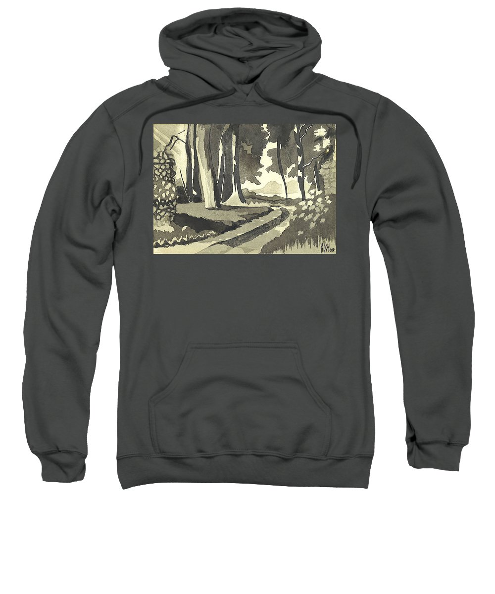 Rural Sweatshirt featuring the painting Country Lane In Evening Shadow by Kip DeVore