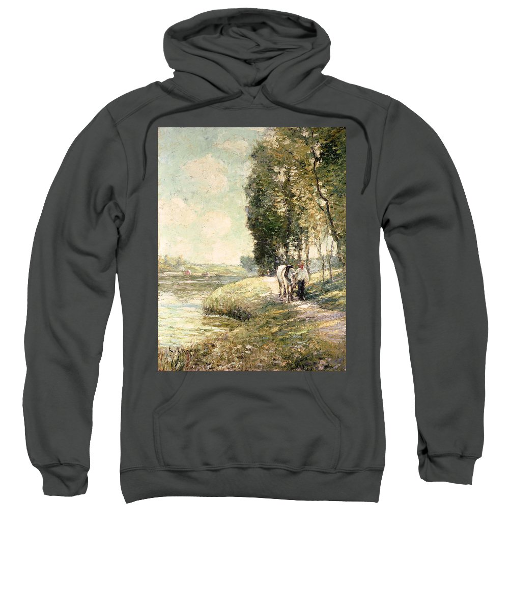 Country Road To Spuyten Sweatshirt featuring the painting Country Road To Spuyten by Ernest Lawson