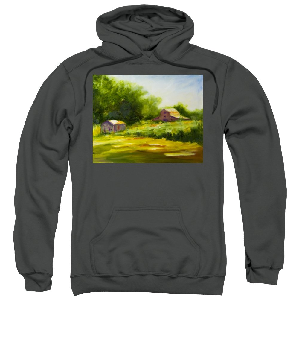 Landscape In Green Sweatshirt featuring the painting Courage by Shannon Grissom