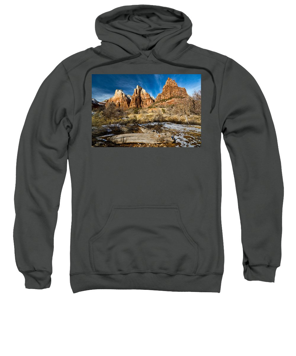 Mountains Sweatshirt featuring the photograph Court Of The Patriarchs by Christopher Holmes