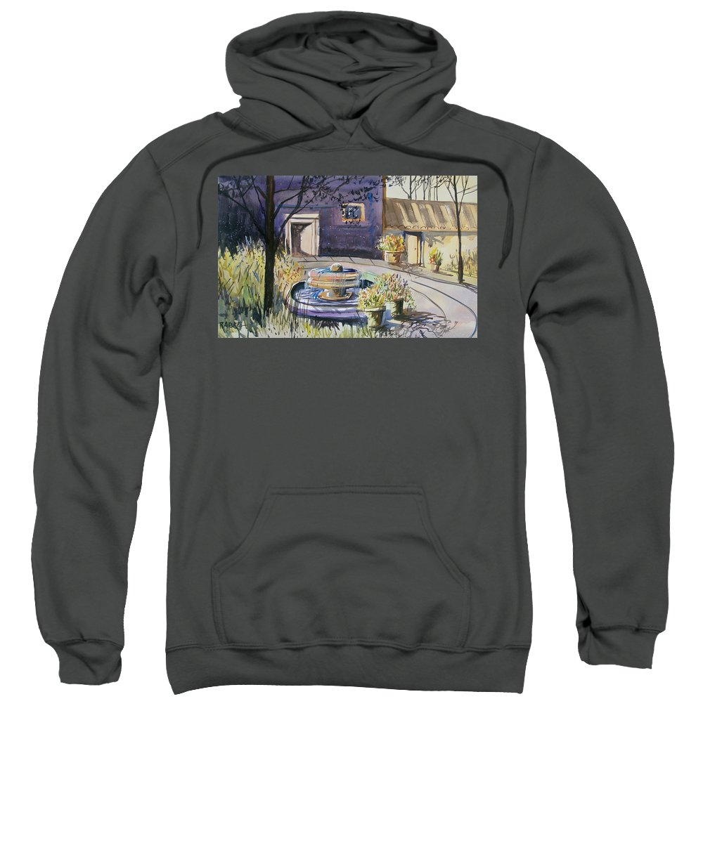 Watercolor Sweatshirt featuring the painting Courtyard In The Morning by Ryan Radke