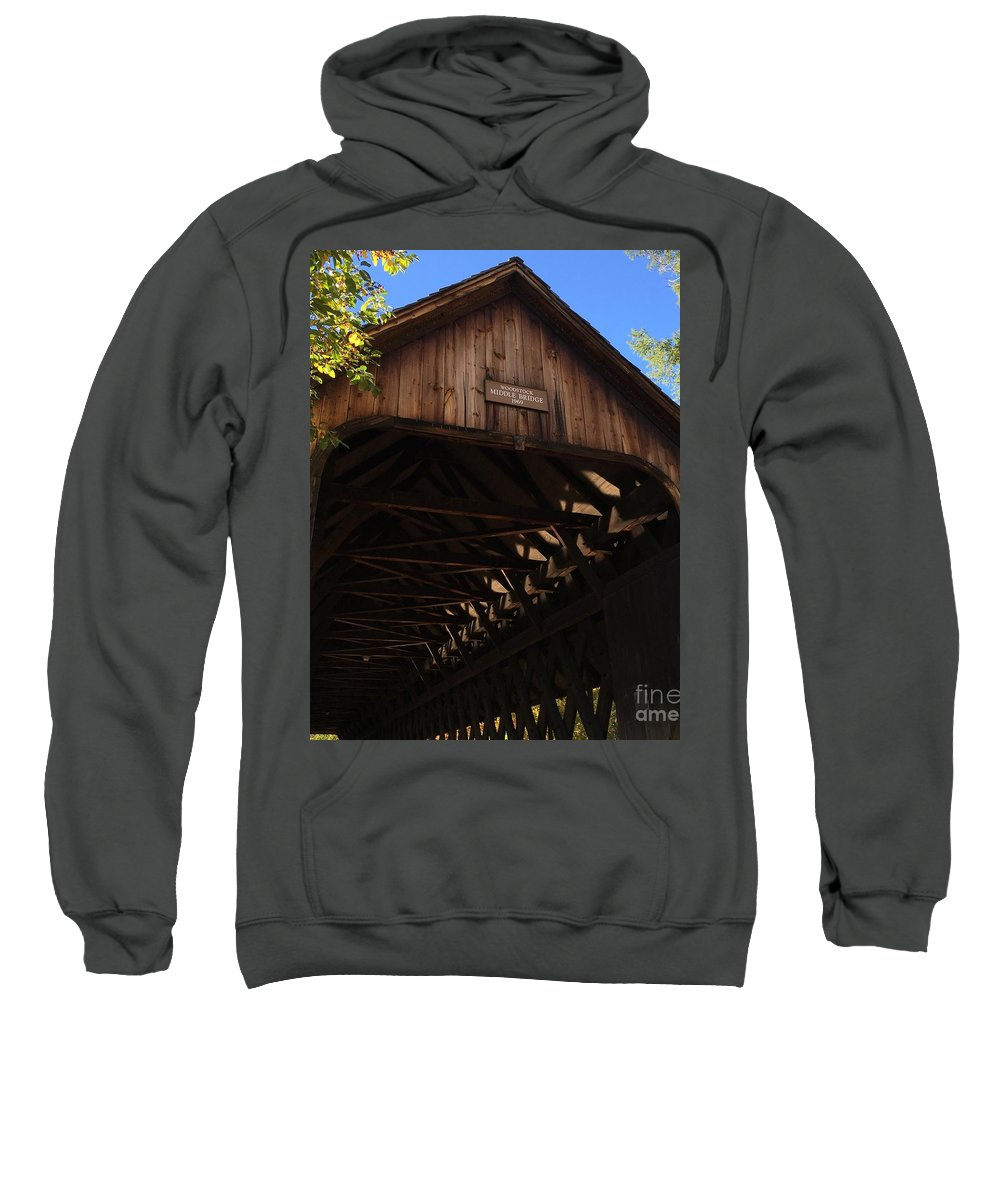 Covered Bridge Sweatshirt featuring the photograph Covered Bridge In Woodstock by Penn Patrick